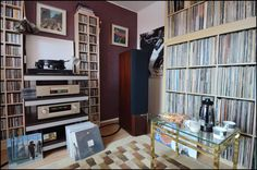 Vinyl collection records living room