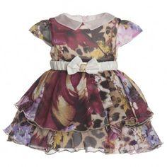 Roberto Cavalli Baby Girls Floral-Leopard Silk Dress | CHILDRENSALON