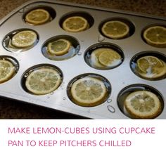 Cupake pan with lemon/citrus slices for keeping punch or party drinks cold