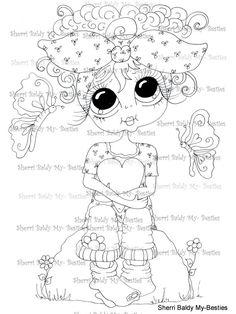 INSTANT DOWMLOAD Digital Digi Stamps Big Eye Big Head Dolls Digi  My Besties IMG875 By Sherri Baldy