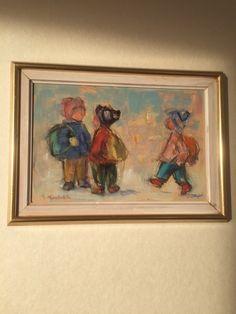 """Maleriet """"Møte på skoleveien"""" av Gøsta Munsterhjelm vurderes solgt. Størrelse 38 cm x 28 cm. Responderer ikke på bud under kr. 10000. Paintings, People, Art, Art Background, Paint, Painting Art, Kunst, Performing Arts, Painting"""