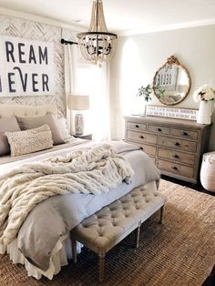 rustic farmhouse bedroom decor, romantic bedroom decor #homedecor #bedroomdecor #farmhousestyle #DIY