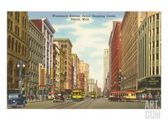 Woodward Avenue, Detroit, Michigan Art Print at Art.com from vintage photo or postcard