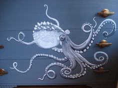 I love this handpainted octopus on a dresser.