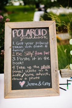 GUESTBOOK | Polaroid instructions...hmmm..alternative to photo booth?
