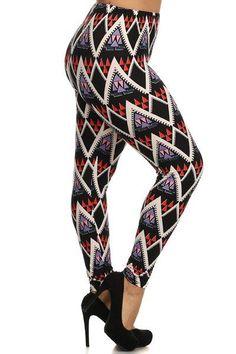 Plus Size Purple Geo Pattern Stretchy Leggings