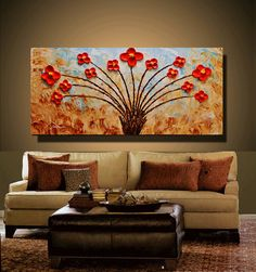 Wild Blooming Poppies Original abstract painting by viorelscoropan