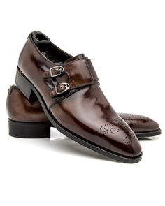 Artioli Cigar Quad Monk Strap Loafer Smooth leather upper Burnished toe and…