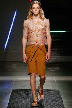 MSGM - awesome sude shorts with bias flap pocket and tie belt. and the top is quite cool too!