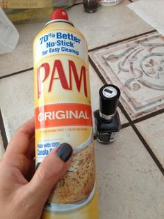 Spray wet nails with cooking spray and wipe off to reveal dry, smudge-free nails! Totally totally works! I was in a time crunch for the last time i painted my nails and this was a life-saver! Never painting again without doing this!!!