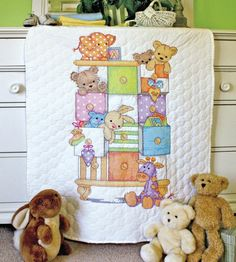 Dimensions Crafts - Baby Drawers Baby Quilt Stamped Cross Stitch Kit # 73537
