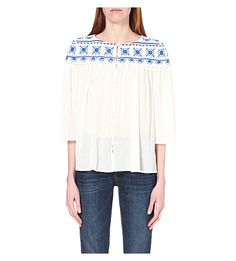 CLAUDIE PIERLOT Charly floral-embroidered chiffon top