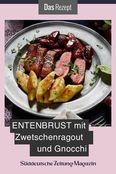 Duck breast with plum ragout and gnocchi - Delicious autumn recipe or for the holidays, such as Christmas or New Year's. Fall Recipes, Soup Recipes, Vegetarian Recipes, Easter Recipes, Vegetarian Appetizers, Greek Recipes, Italian Recipes, Meals For Two, Kids Meals