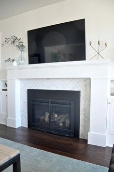 white scallop marble fireplace