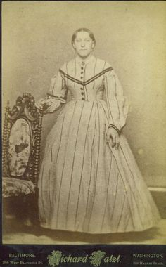Baltimore Washington DC. Late war or post-war (c. 1865-6) - Her skirt is flat in front and gored.