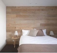 :: BEDROOM :: i'm loving the touch of warmth through texture and natural finishes, especially in the bedroom adore the wood feature wall #bedrooms