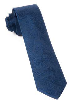Navy Twill Paisley Tie