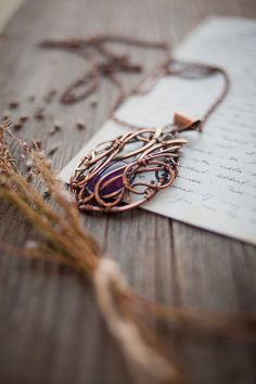 Archer girl - amethyst wire copper necklace by Ursula Jewelry.