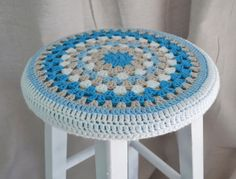 Crochet Stool Cover Granny Round 12 Coastal Vibe by TannaGail, $18.00