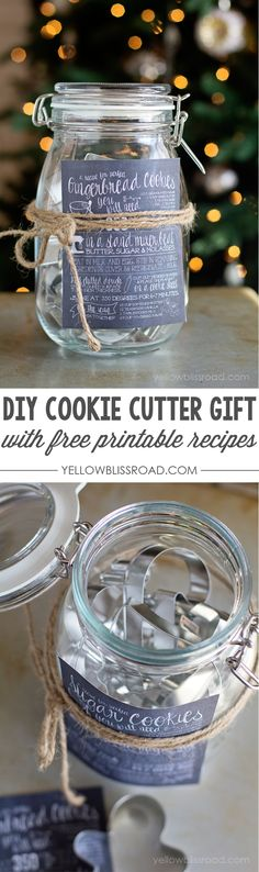 DIY Christmas Gift Idea - Cookie Cutters in a jar with Free Printable Recipes