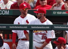 Waino and Carp sharing a laugh on Opening Day... 4-08-13