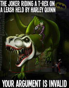 The Joker riding a T-Rex