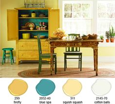 yellow and teal Like these colors for my bathroom.   Need the teal accent wall since its already yellow. :)