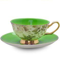 Satin Shelley Bone China Teacup (Tea Cup) and Saucer Green - Bone China Tea Cups and Saucers - Roses And Teacups