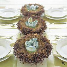 Elegant Easter centerpiece - mini eggs on nests.