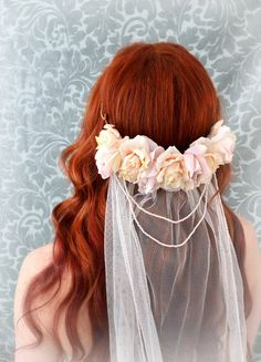 Blush bridal veil wedding crown rose circlet by gardensofwhimsy, $150.00