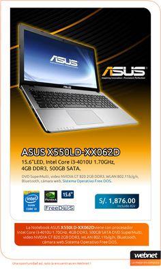 """Notebook ASUS X550LD-XX062D en Oferta! Pantalla de 15.6"""" LED, con procesador core i3 y Disco de 500GB."""