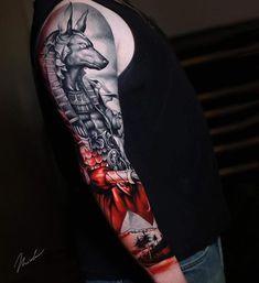 // Anubis sleeve I've started last week! Music Tattoos, Body Art Tattoos, New Tattoos, Full Sleeve Tattoos, Sleeve Tattoos For Women, Cool Tattoos For Guys, Trendy Tattoos, Feather Tattoos, Forearm Tattoos