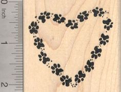 Paw Print Heart Rubber Stamp, Dog, Cat, Pet pawprints -- Check this awesome product by going to the link at the image.