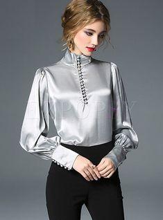 Tops blouses brief solid color stand collar zipper blouse blusas de cetim, Blouse Styles, Blouse Designs, Hijab Fashion, Fashion Dresses, Gothic Fashion, Fashion Tips, Stylish Dresses For Girls, Looks Chic, Satin Blouses