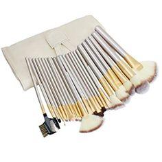 KYG Set de Cepillos de Maquillaje de 24 piezas con Bolsa Color Beige Herramienta Pinceles de Maquillaje