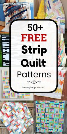 Free Quilt Patterns using Strips: 50+ free strip quilt patterns, tutorials, and diy sewing projects. Many great for use with 2.5 inch jelly roll fabric bundles. Many designs simple and easy enough for a beginner to sew. Ideas and instructions for how make a strip quilt. #SewingSupport #Quilt #Patterns #Pattern #Strip #JellyRoll Diy Sewing Projects, Sewing Projects For Beginners, Sewing Hacks, Sewing Tips, Quilt Patterns For Beginners, Sewing Crafts, Jellyroll Quilts, Easy Quilts, Strip Quilt Patterns