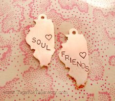 """Best Friend Keychain Set of Two-Save 10% with Coupon Code """"SAVE10TODAY""""- Choose Your State Shape -  Handmade Artisan Custom Charm BFF State"""