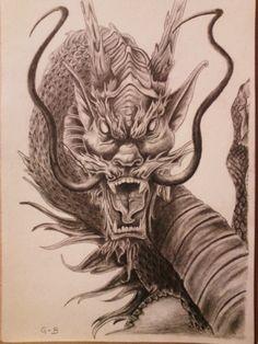 Done in gray pencil Dragon Head Tattoo, Chinese Dragon Tattoos, Dragon Tattoo Designs, Head Tattoos, Sleeve Tattoos, Tattoo Samurai, Dragon Oriental, Et Tattoo, Tattoo Designs