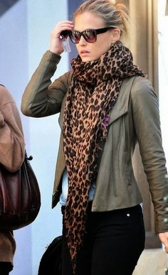 Olive Green Jacket, Black Jeans And Leopard Print scarf