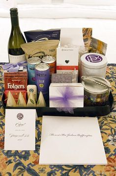 In each hotel room, guests are greeted with a bottle of wine, coffee, snacks and a note from the bride and groom.