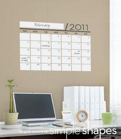 Unique Dry Erase Board Decal - Wall Calendar - Vinyl Wall Sticker $35.00