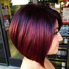 Straight Bob Haircut - Stunning New Red Hair Colour Ideas - PoPular Haircuts Straight Bob Haircut, Blonde Bob Haircut, Pelo Color Berenjena, Short Hair Trends, Short Hair Styles, Bob Hair Color, Shades Of Red Hair, Red Ombre Hair, Purple Hair