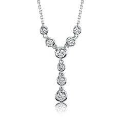 Sirena ¼ct. Diamond Lariat Necklace in 14k White Gold