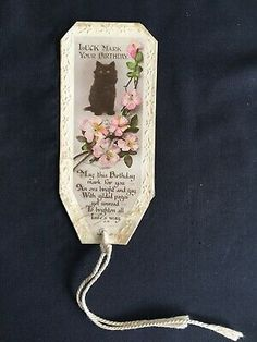 Vintage Collectable Bookmark - cEarly 1900s - Black Cat & Apple Blossom Flower | eBay Apple Blossom Flower, My Bookmarks, Vintage Flowers, Cat, Simple, Handmade, Black, Hand Made, Black People