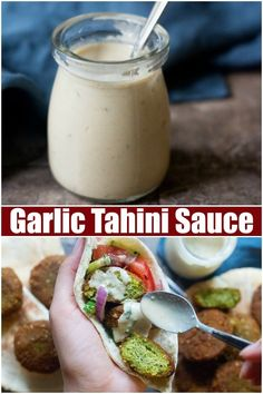 This easy everyday tahini sauce recipe has so many uses, it's perfect for falafel, shawarma and kabobs. This vegan sauce is healthy and can also be made spicy. Lean how to make this easy tahini sauce recipe, try a big batch and enjoy! Sauce Pour Falafel, Sauce Tahini, Doner Kebab Sauce Recipe, Kabob Sauce Recipe, Falafels, Kebabs, Chutneys, Vegetarian Recipes, Snacks