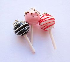 Valentine's Day Cake Pop Charms Polymer Clay Set of Three 3