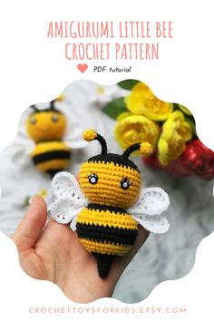 Amigurumi little BEE crochet pattern You can buy and download 4 in 1 crochet patterns for spider, bee, ladybug and bug all together in my Etsy store