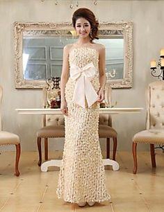 Sheath/Column Strapless Floor-length Lace Evening Dress