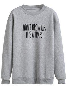 Shop Grey Slogan Print Drop Shoulder Sweatshirt online. SheIn offers Grey Slogan…