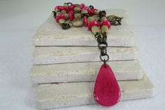 Hot Pink and Earth Tone Tagua Nut Necklace by SanasCreations, $39.50